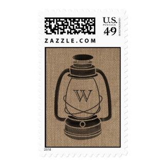 Burlap Inspired Monogram Oil Lantern Postage