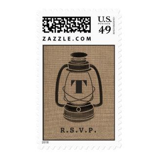 Burlap Inspired Monogram Oil Lantern R.S.V.P. Postage Stamp