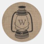 Burlap Inspired Monogram Oil Lantern Sticker