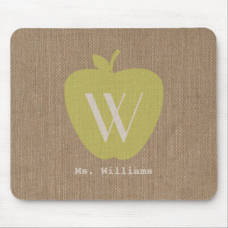 Burlap Inspired Monogram Teacher Mousepad