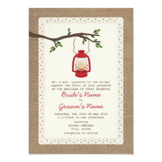 "Burlap Inspired / Oil Lantern Camping Wedding 5"" X 7"" Invitation Card"