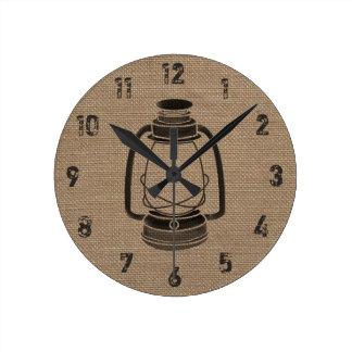 Burlap Inspired Oil Lantern Clock