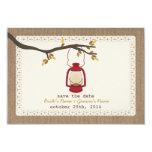 "Burlap Inspired Oil Lantern Fall Save The Date 3.5"" X 5"" Invitation Card"