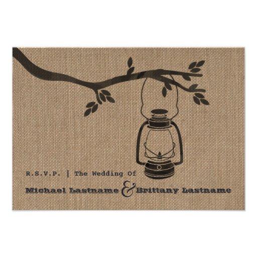 burlap inspired oil lantern wedding rsvp invitation - Lantern Wedding Invitations