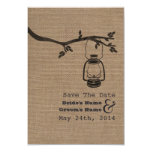 "Burlap Inspired Oil Lantern Wedding Save The Date 3.5"" X 5"" Invitation Card"