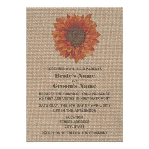 Burlap Inspired Orange Sunflower Wedding Invite