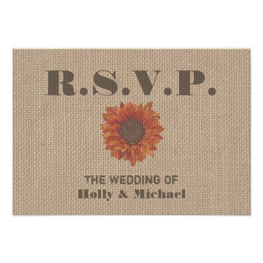 Burlap Inspired Orange Sunflower Wedding RSVP Invitations