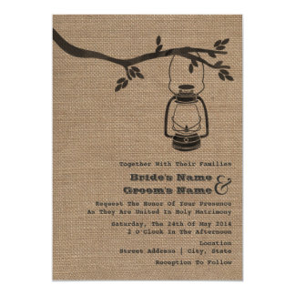Burlap Inspired Outdoor / Camping Wedding 5x7 Paper Invitation Card