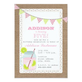 Burlap Inspired Pink Lemonade & Lime Birthday 5x7 Paper Invitation Card