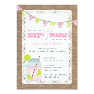 Burlap Inspired Pink Lemonade & Lime Sip + See Card