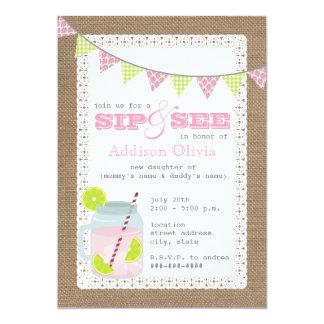 Burlap Inspired Pink Lemonade & Lime Sip + See 5x7 Paper Invitation Card