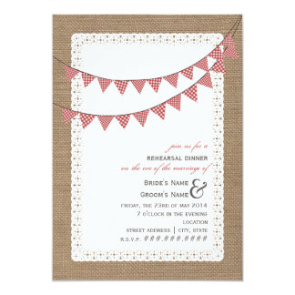 Burlap Inspired Red Gingham Bunting Rehearsal 5x7 Paper Invitation Card