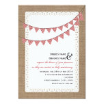 Burlap Inspired Red Gingham Bunting Wedding Personalized Announcements