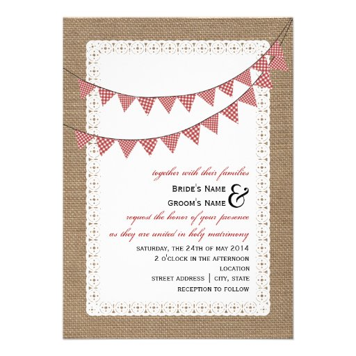 Burlap Inspired Red Gingham Bunting Wedding Custom Announcements