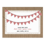 Burlap Inspired Red Gingham Flags Save The Date Postcard