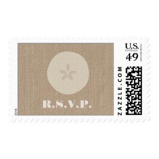 Burlap Inspired Sand Dollar R.S.V.P. Postage Stamps
