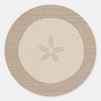 Burlap Inspired Sand Dollar Sticker