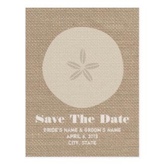 Burlap Inspired Sand Dollar Wedding Save The Date Postcard