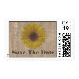 Burlap Inspired Sunflower Wedding Save the Date Postage