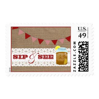 Burlap Inspired Sweet Tea Sip & See Postage