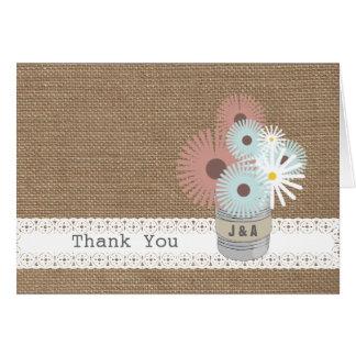 Burlap Inspired Tin Can Monogram Thank  You Greeting Card