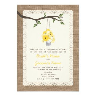 Burlap Inspired Tin Can Of Wildflower Rehearsal Card