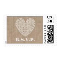 Burlap Inspired White Heart Rustic RSVP Postage