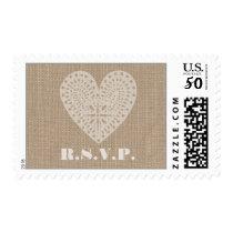 Burlap Inspired White Heart Rustic RSVP Postage