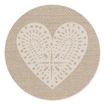 Burlap Inspired White Heart Sticker