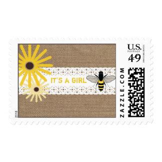 Burlap Inspired Wildflowers & Bee Baby Shower Stamp