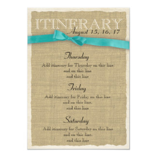 Burlap Itinerary Aqua Bow 4.5x6.25 Paper Invitation Card