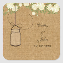 burlap ivory rose mason jar wedding favor stickers