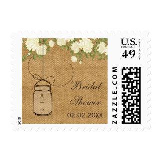 burlap ivory roses mason jar personalized stamps