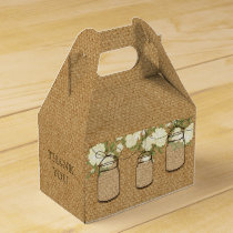 burlap ivory roses mason jar wedding favor box
