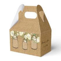 burlap ivory roses mason jar wedding favor box