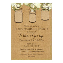 Burlap ivory roses Mason Jars housewarming Invite