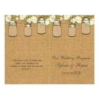 burlap ivory roses mason jars programs folded flyer