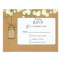 burlap ivory roses mason jars wedding RSVP Card