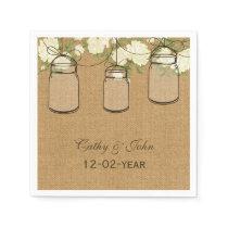 burlap ivory roses personalized wedding napkin