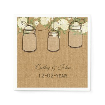 burlap ivory roses personalized wedding napkin
