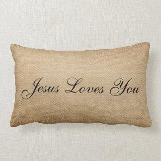 Burlap Jesus Loves You Pillow