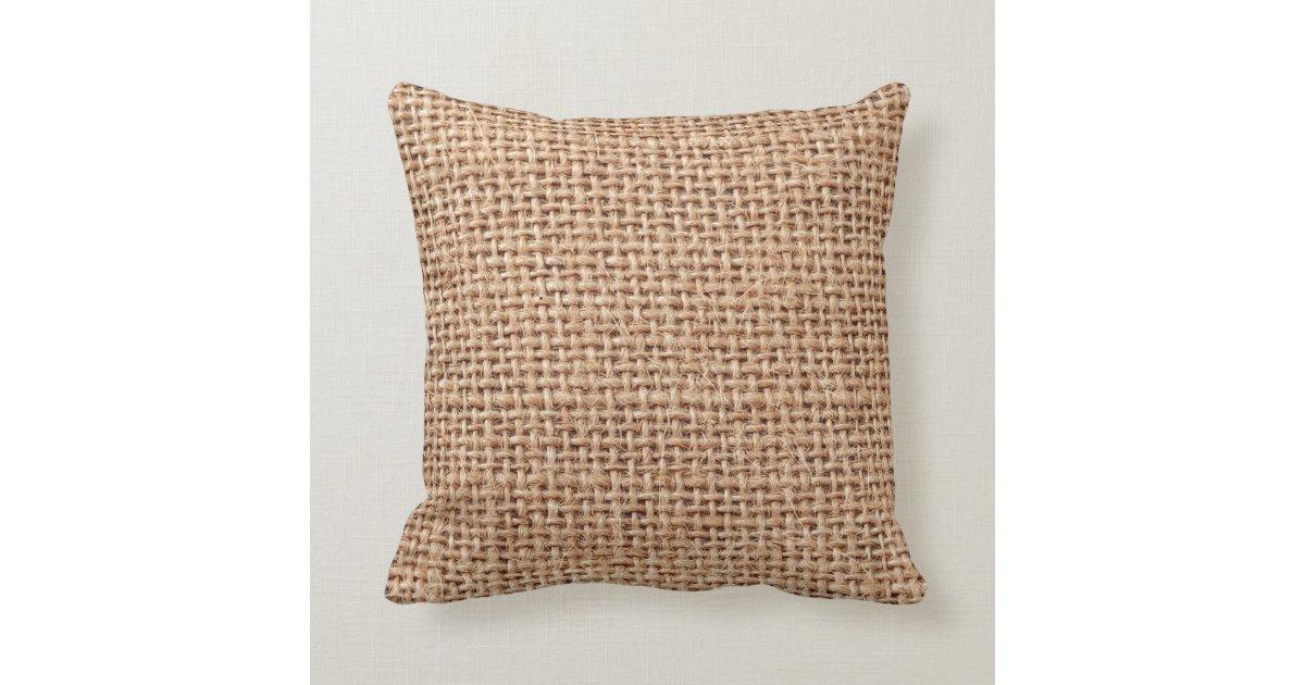 Jute Throw Pillow : Burlap Jute Fabric Look Brown Throw Pillow Zazzle