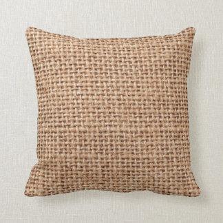 Burlap Jute Fabric Look Brown Throw Pillow