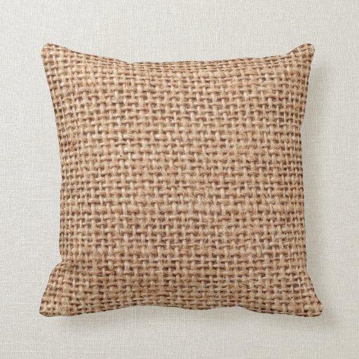 Burlap Jute Fabric Look Brown Throw Pillows Zazzle