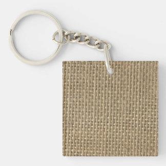 Burlap Jute Sacking Single-Sided Square Acrylic Keychain
