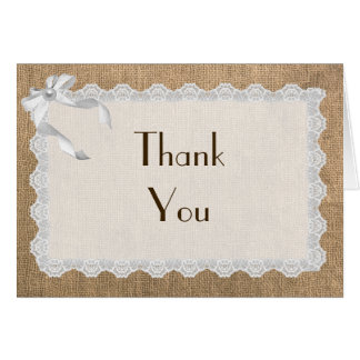 Burlap Lace And Bows Customizable Thank You Card