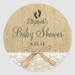 Burlap Lace And Footprints Baby Shower- Favor Classic Round Sticker at Zazzle