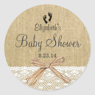 Burlap, Lace and Footprints Baby Shower-Favor Classic Round Sticker