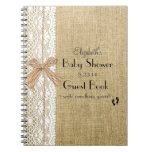 Burlap Lace And Raffia Image Rustic Guest Book at Zazzle
