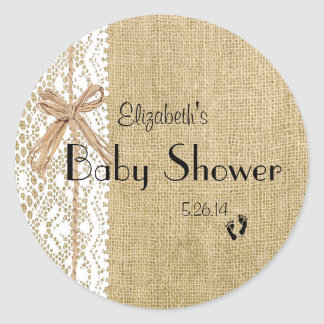 Burlap Lace and Rafia Image Baby Shower-Favor Classic Round Sticker